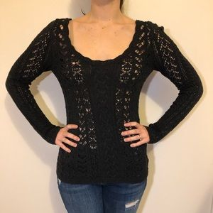 Charcoal free people sweater with special back